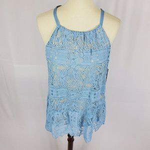 Alfani halter lace top blue lined NWT